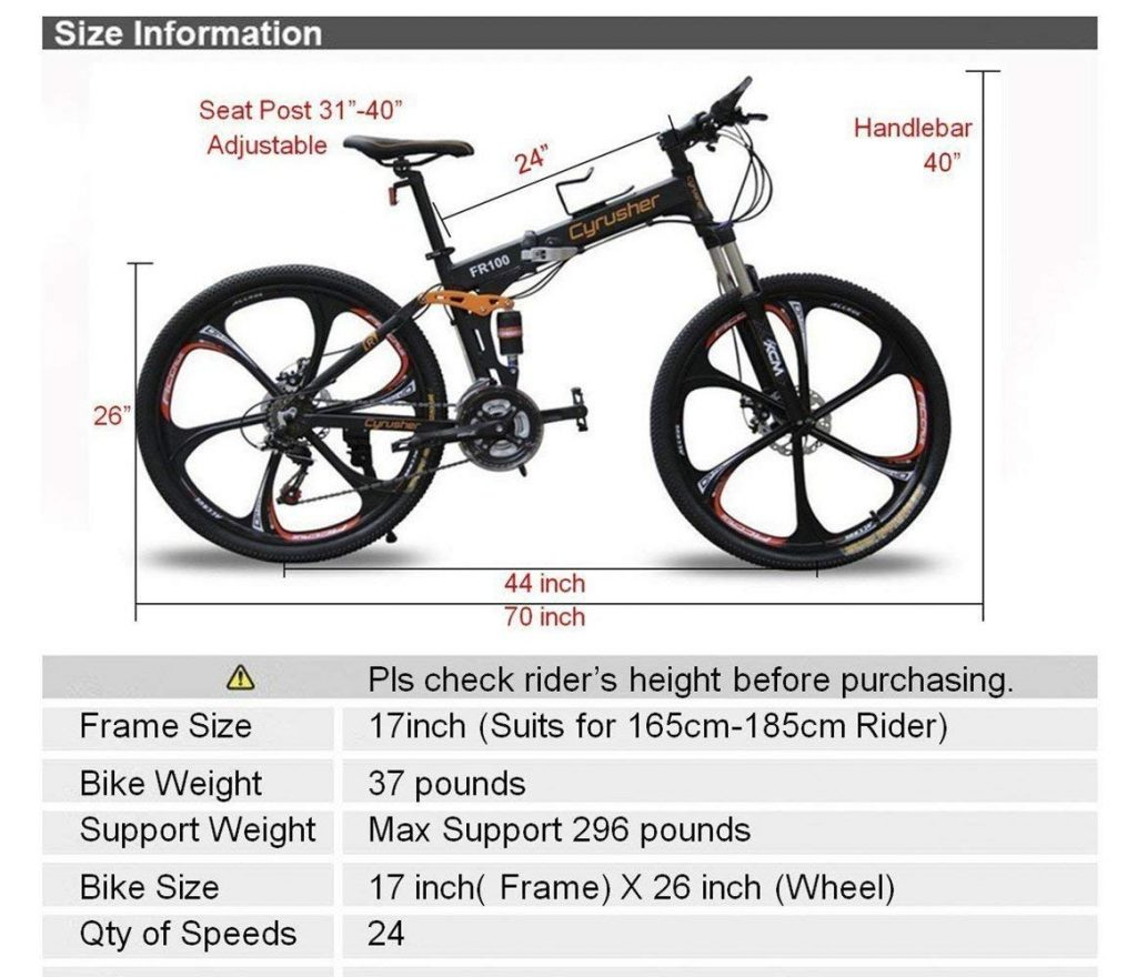folding mountain bike size