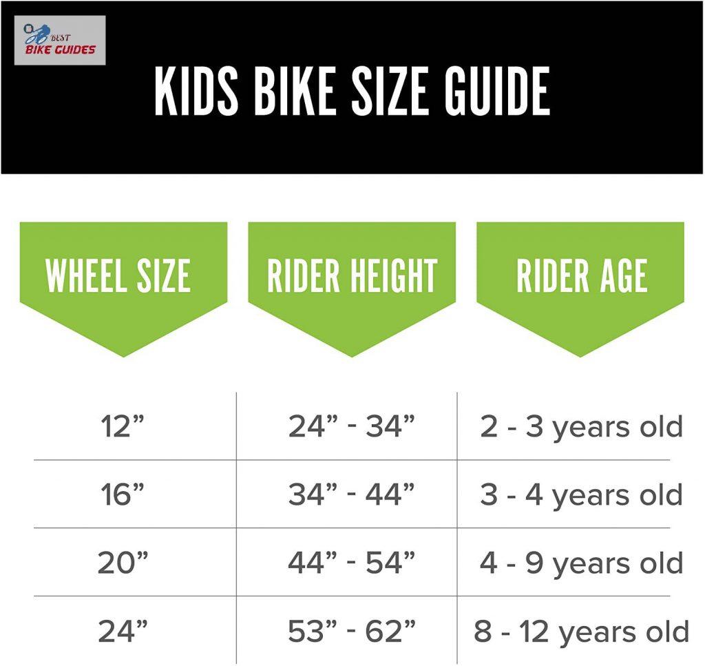 size chart for kids bike